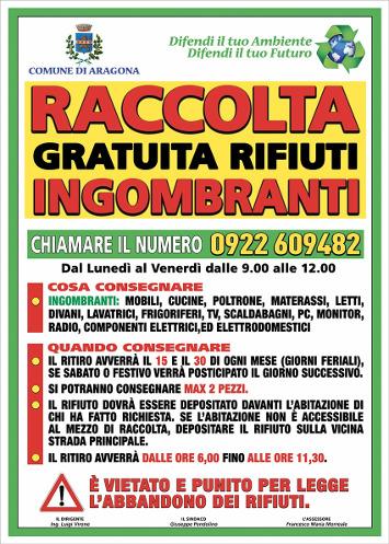 SERVIZIO RACCOLTA GRATUITA RIFIUTI INGOMBRANTI – CHIAMARE IL NUMERO 0922-609482