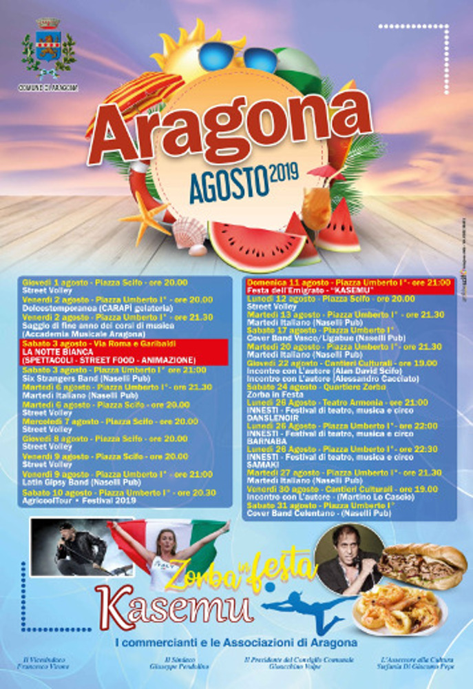 PROGRAMMA – ARAGONA  AGOSTO 2019